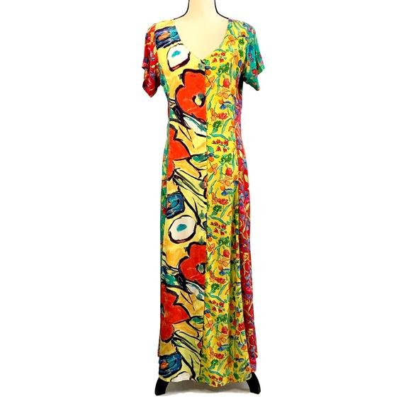 Nino Wong Dresses & Skirts - Beautiful Nino Wong Yellow Floral Rayon Maxi Dress